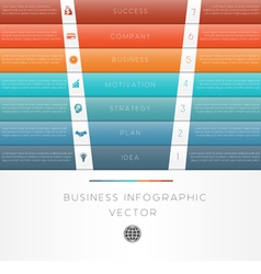 Template infographic colour strips 7 position vector
