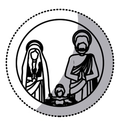 Sticker silhouette sacred family with baby jesus vector