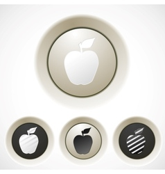 White buttons set with apple silhouette vector