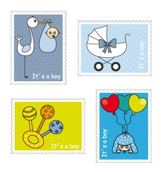 Stamps baby boy vector