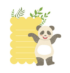panda with lined paper and plants sticker vector image
