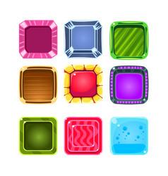 Colorful gems flash game element templates design vector