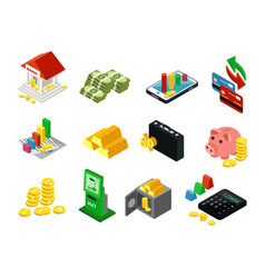 Isometric business financial icons set vector