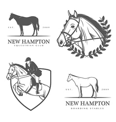 Set of equestrian stables labels and badges vector