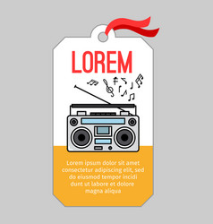 Music tag with record player vector