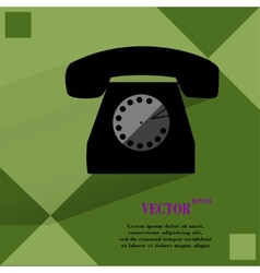 Retro telephone flat modern web button on a flat vector