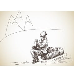 Backpacker at rest vector