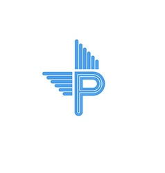 Letter p logo with blue wings flying concept vector