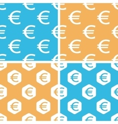 Euro pattern set colored vector