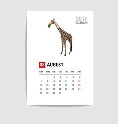 2016 august calendar giraffe polygon vector