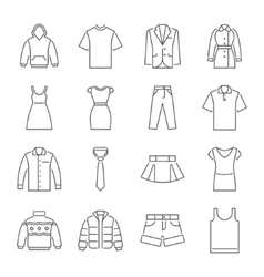 Clothes icons thin line style flat design vector