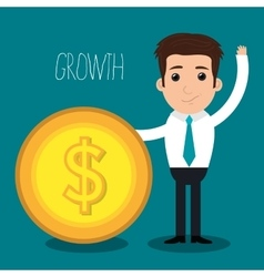 Money and profit growth vector