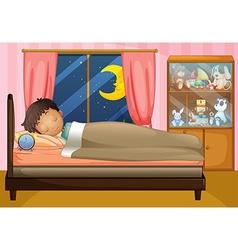 Boy sleeping in his bedroom vector image