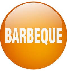 Barbeque orange round gel isolated push button vector
