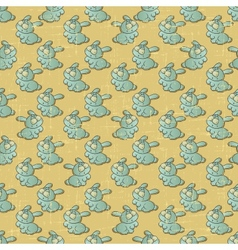 Vintage cartoon rabbits pattern vector