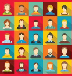 avatar user icon set flat style vector image