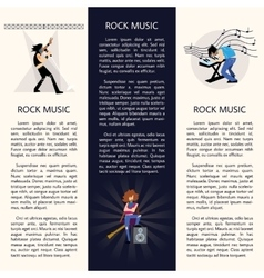 Banners with rock musicians playing instruments vector image vector image