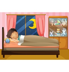 Boy sleeping in his bedroom vector
