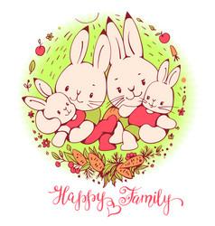 cartoon bunnies family vector image vector image