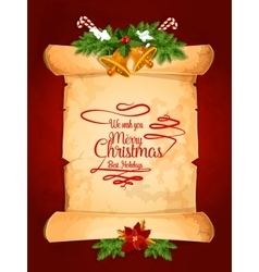 Christmas card with scroll holly berry and bell vector image
