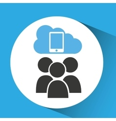 cloud connection social media smartphone vector image