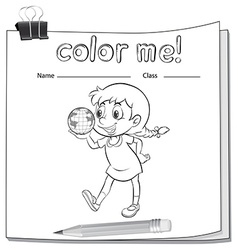 Coloring worksheet with girl vector