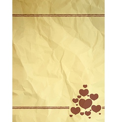 Crumpled vintage card with hearts vector image vector image