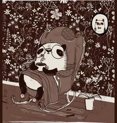 cute panda in armchair vector image