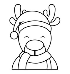 cute reindeer with santa claus hat vector image