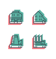 different house buildings icon set anaglyph 3d vector image vector image