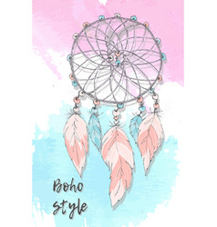 Dreamcatcher boho style hand drawing vector