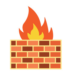 firewall flat icon security and brick wall vector image