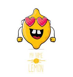 Funny cartoon cute yellow lemon vector
