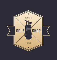 Golf shop vintage emblem logo on dark vector
