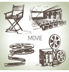 Hand drawn vintage movie and cinema set vector