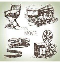 Hand drawn vintage Movie and cinema set vector image vector image