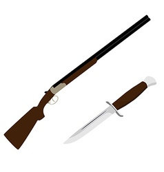 Hunting rifle and knife vector image vector image
