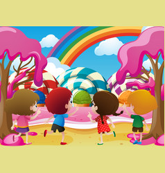 Kids playing in candyland vector