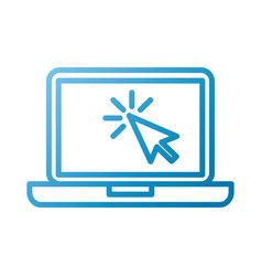 laptop technology arrow cursor point select vector image