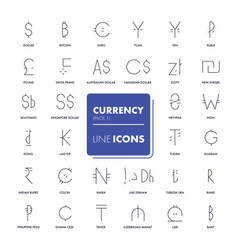 line icons set currency market vector image vector image