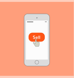mobile phone with sell button vector image vector image