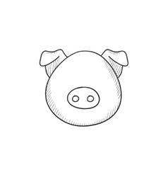 Pig head sketch icon vector image vector image
