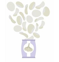 Potato chips taste of garlic packaging bag of vector