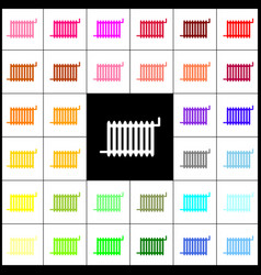 Radiator sign felt-pen 33 colorful icons vector