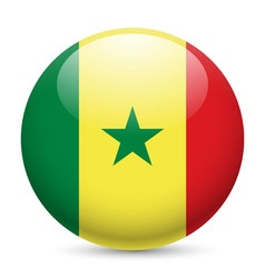 Round glossy icon of senegal vector
