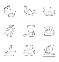 rural icons set outline style vector image