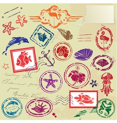 Sea and tropical elements - rubber stamps collecti vector image