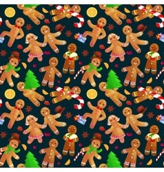 Seamless pattern christmas cookies gingerbread man vector