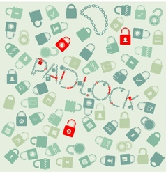 set web icons pudlock and chain seamless vector image vector image