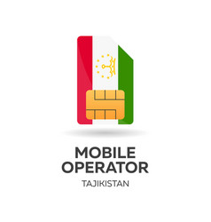 Tajikistan mobile operator sim card with flag vector